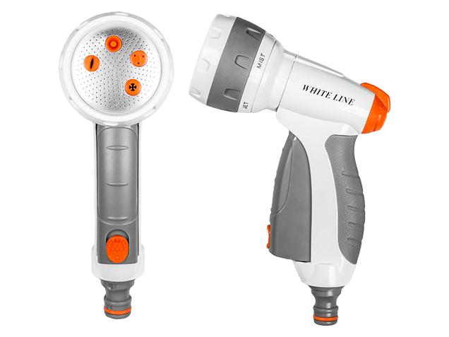 WHITE LINE – 5-funkční kovová nastavitelná pistole WATER CLICK pro zavlažování různými vodními paprsky s pákou pro plynulé nastavení vodního paprsku