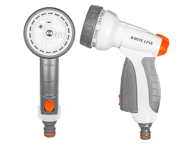 WHITE LINE – 7-funkční kovová nastavitelná pistole WATER CLICK pro zavlažování různými vodními paprsky s pákou pro plynulé nastavení vodního paprsku